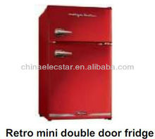 retro mini double door fridge