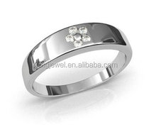 Silver Men Ring antique classical design with diamond