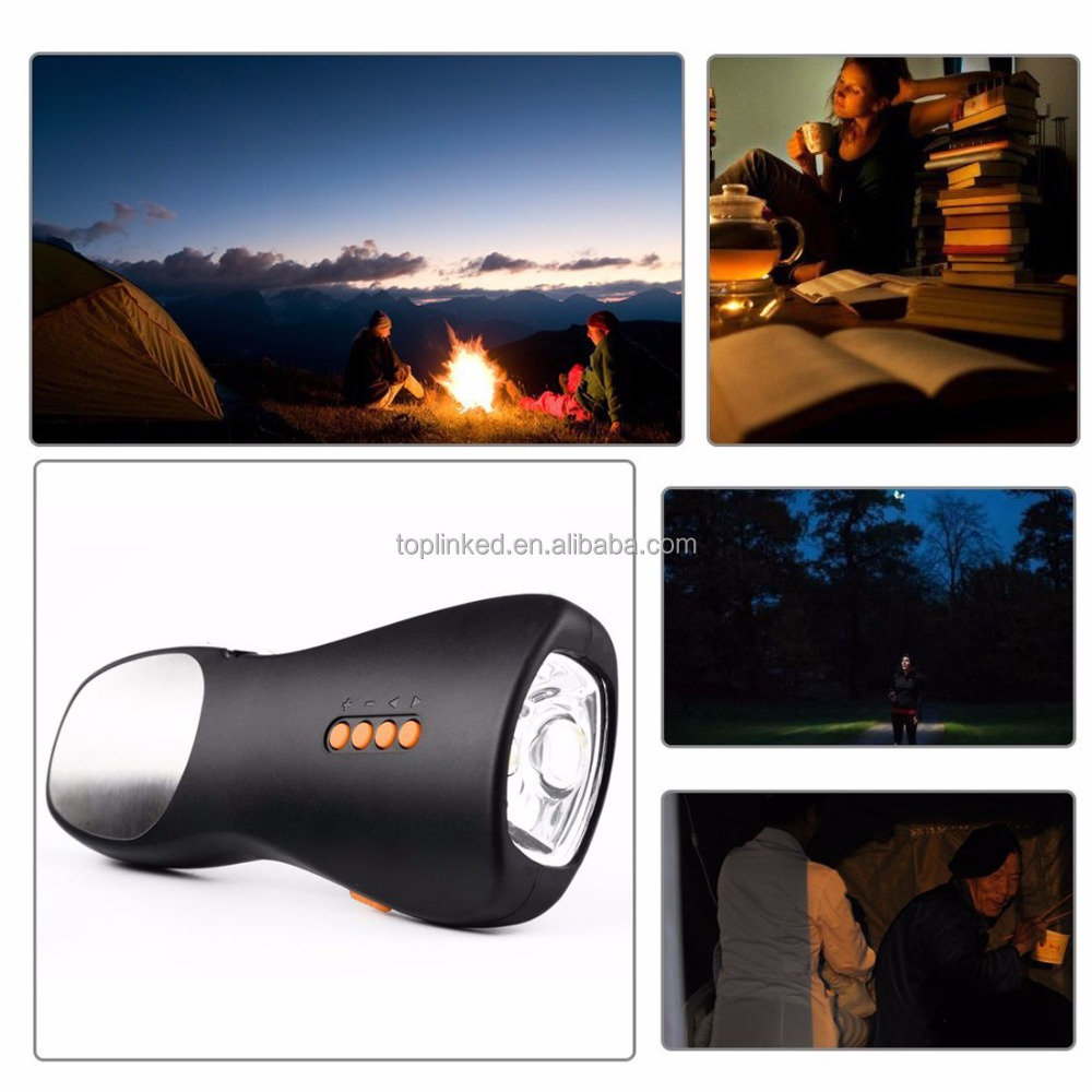 USB Rechargeable Hand Crank Flashlight Dynamo Torch Light for Smart IPhone Power Bank Portable Tool for Camping Outdoor Sports