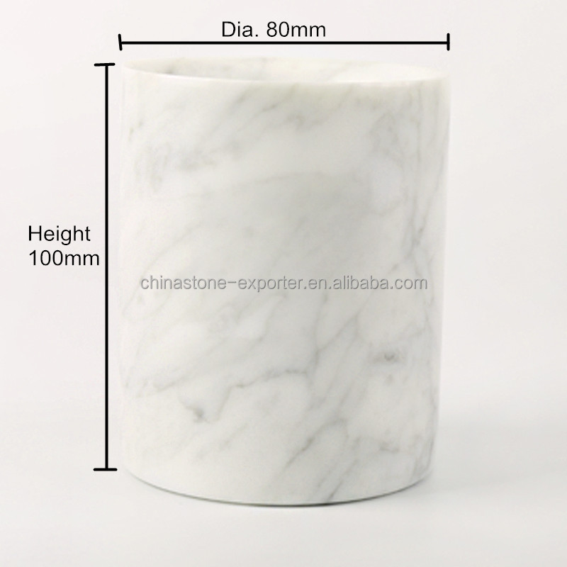 2016 New Factory Price Marble Jar/Stone Cup For Candle/Italy Volakas White Marble Candle Cup