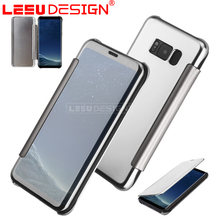 Luxury clear view rlectroplate leather flip cover mirror phone case for samsung galaxy S8