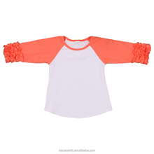 Autumn new fashion girl's tops wholesale solid color shirts children's raglan ruffle sleeve shirts