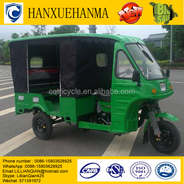 150cc air cooling petrol passenger tricycle with semi-closed cabin