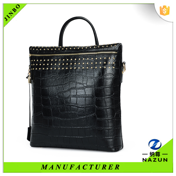 France most trendy black crocodile pattern pu backpacks