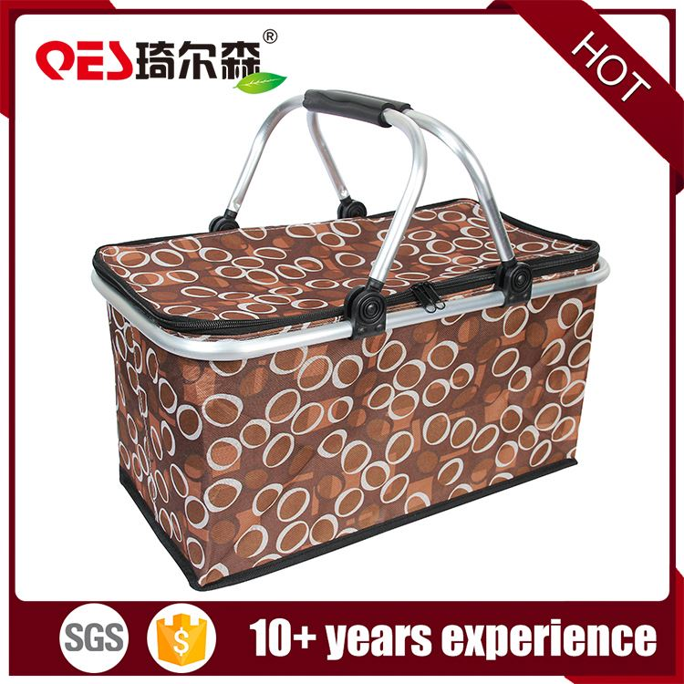 Wholesale new style rectangular vegetables fruits storage cheap polyester picnic basket set