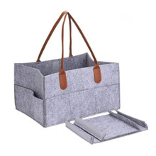 Top quality baby nursery storage bag felt baby diaper organizer with leather handle