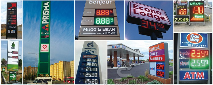 20 Inch Green Gas Station Price Outdoor Waterproof 7 Segment LED Number Display