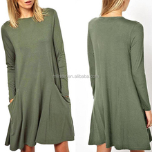 Wholesale Mature Women Clothing Stylish Casual Long Sleeve Pockets Basic Cotton Solid Color T Shirt Swing Dresses For Fat Women