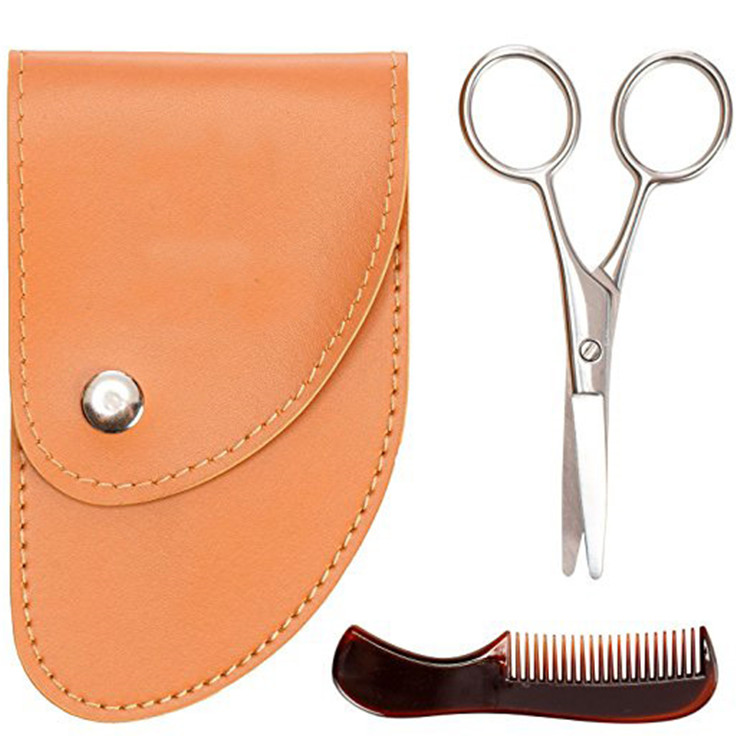 mini scissor and mini comb beard trimmer set