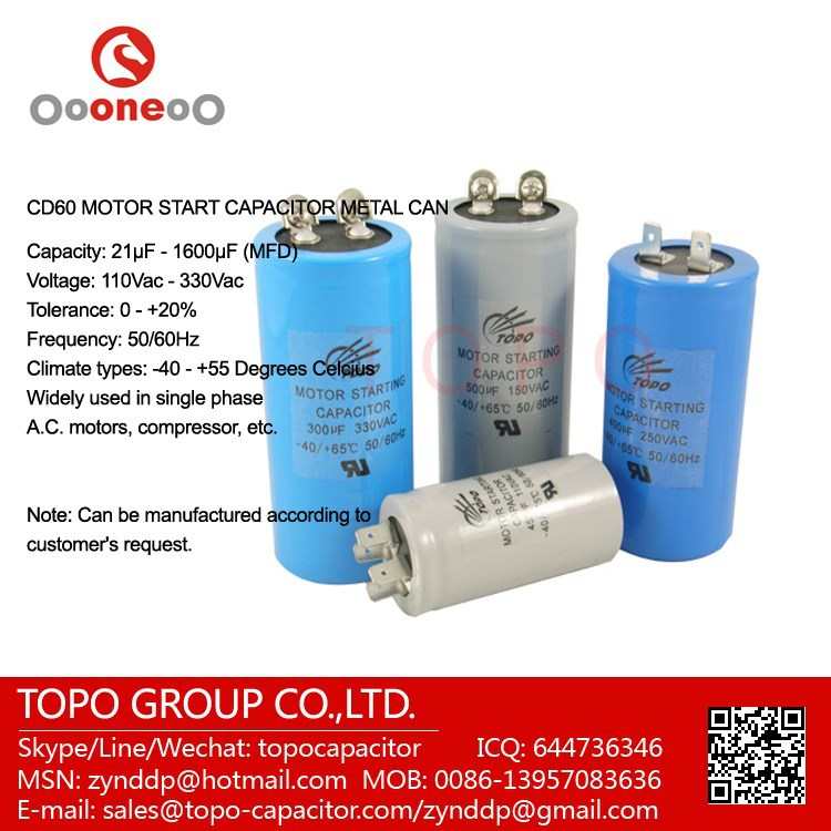 ac application single phase capacitor 400v cd60 motor