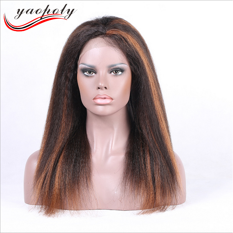 wholesale Glueless piano color full Lace wig Yaki Straight Virgin Brazilian brown ombre Full Lace Human Hair Wigs For black wome