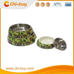 "Chi-buy Gree cartoon Detachable Dual Melamine Pet Bowl antiskid Stainless steel Dog food water Bowl, L Size:6.50""LX8.66""WX2.87""H"