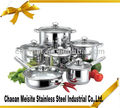 12 pcs colourful stainless steel cookware pot set