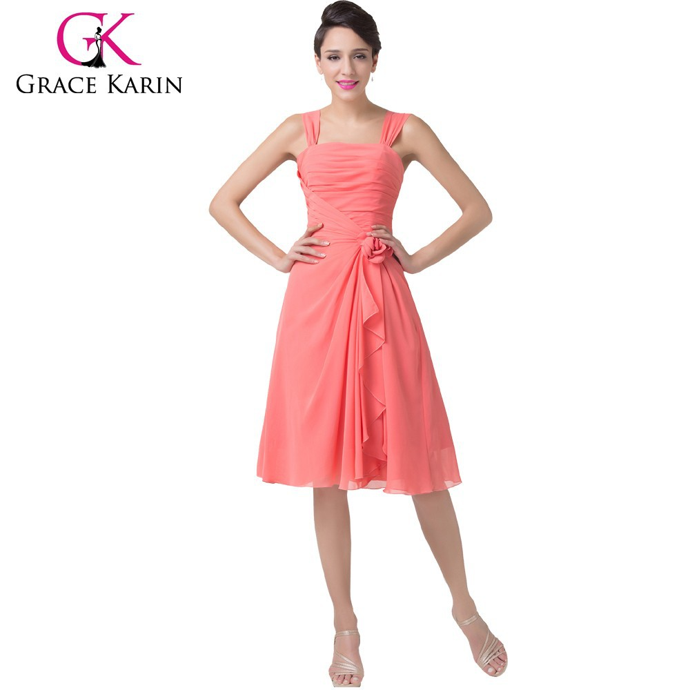 Grace Karin Cheap Charming A-Line Watermelon Chiffon Knee Length Bridesmaid Dress Patterns CL6215