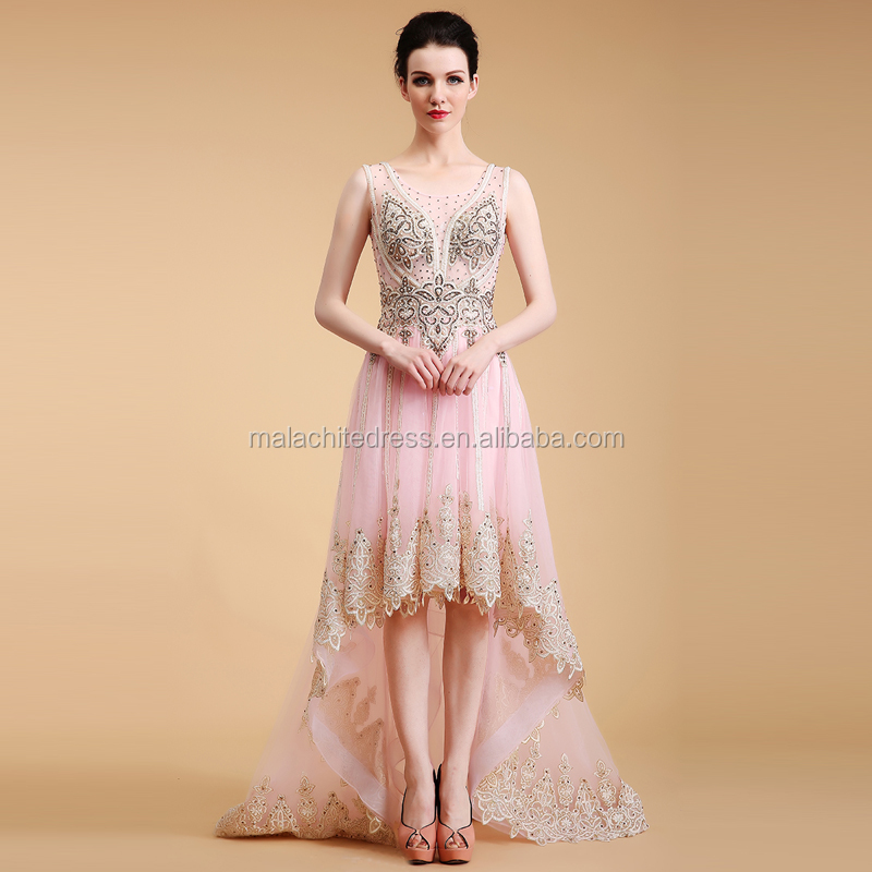 Sexy Embroidery and Bead Evening Dress Short Front Long Back Prom Dress