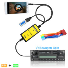 China SupplierCar MP3 USB Interface Adapter Audio Car Digital Music Cd Changer 3.5mm Input Aux interface For VW 8Pin