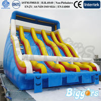ASTM-F963 Adults Commercial Inflatable Water Slide For Pool Three Lanes