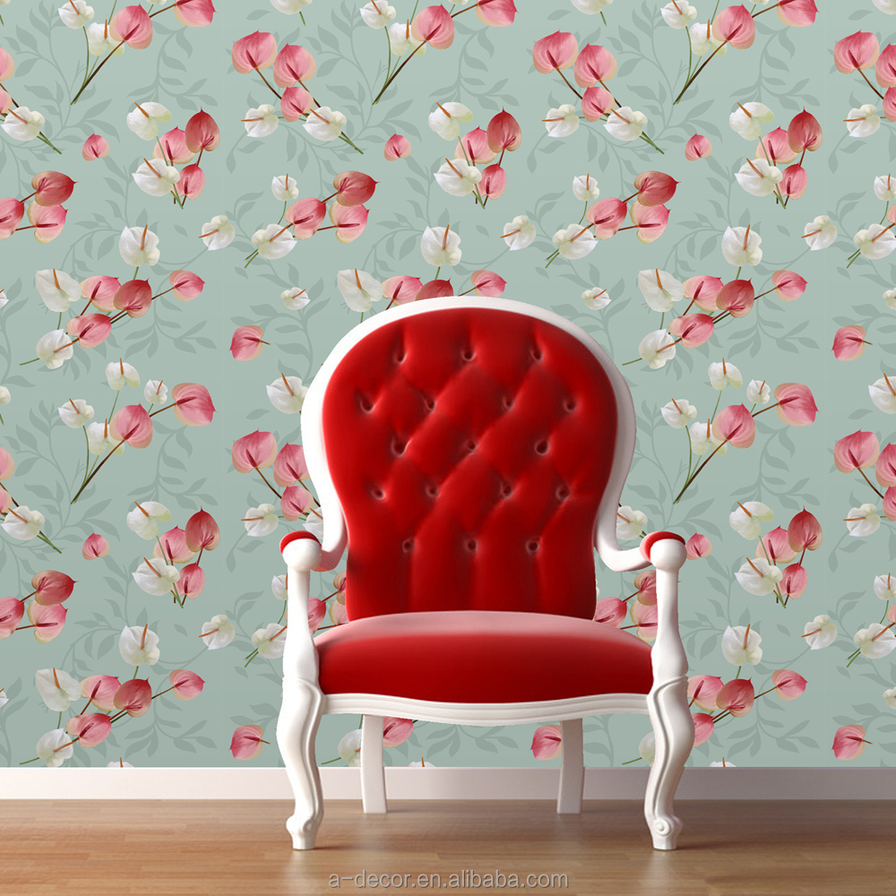 Eco-friendly repeatable wallpapers Germany material of flower wallpapers Continuous flower wall paper