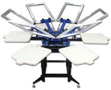 Textiles Printing Double Clamps 6 Colors 6 Stations Easy Adjustment System Screen Printing Manual Carousel