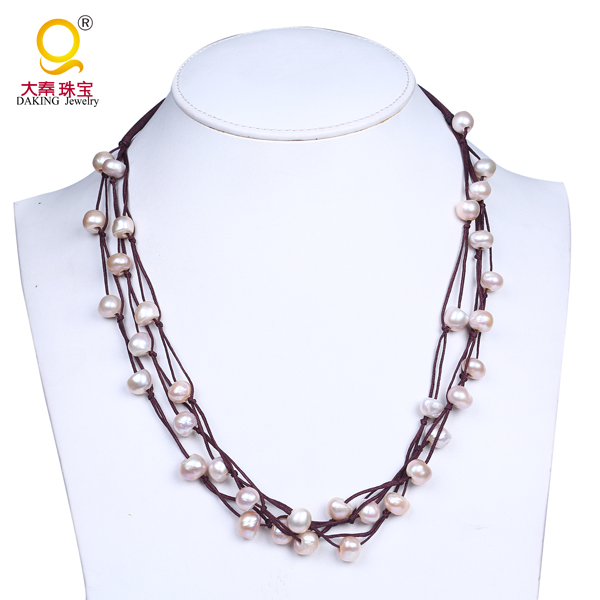 Fashion multilayered beaded necklace baroque shape natural pearl necklaces for lady