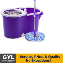 Microfiber Spin Mop and Bucket Floor Cleaning System - 360 Rotation Push & Pull - Liquid Drain Hole