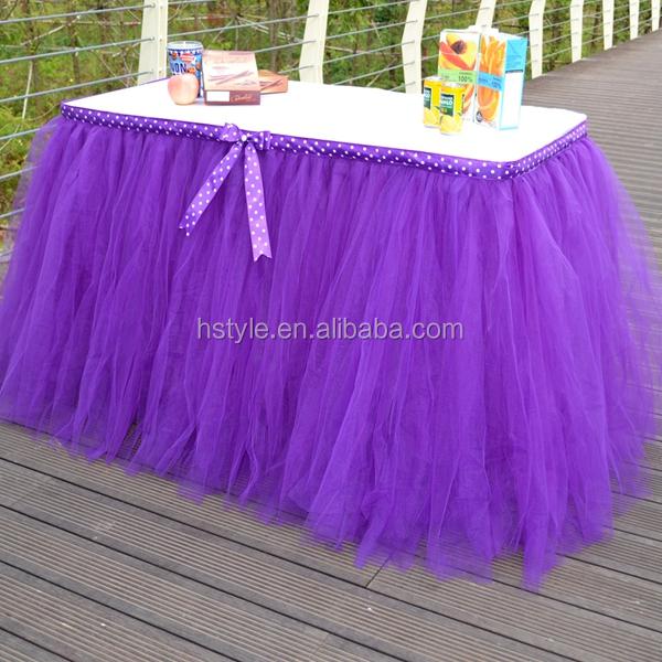 Slumber Party Tutu Tulle Table Skirt Cover Purple Sd103