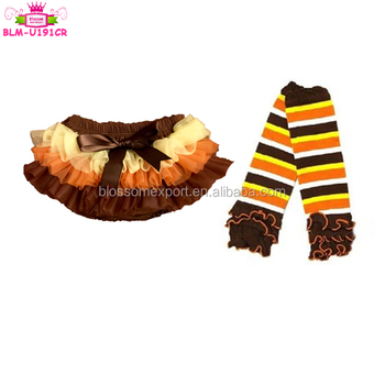Baby diaper cover bloomers Thanksgiving Day Bloomers For Kids Plain Baby fluffy ruffle panties brown cotton baby bloomer