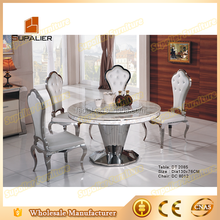 modern stainless steel frame round marble top rotating dining table