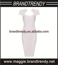 Cap Sleeves White Elegant Fashion alluring evening dress