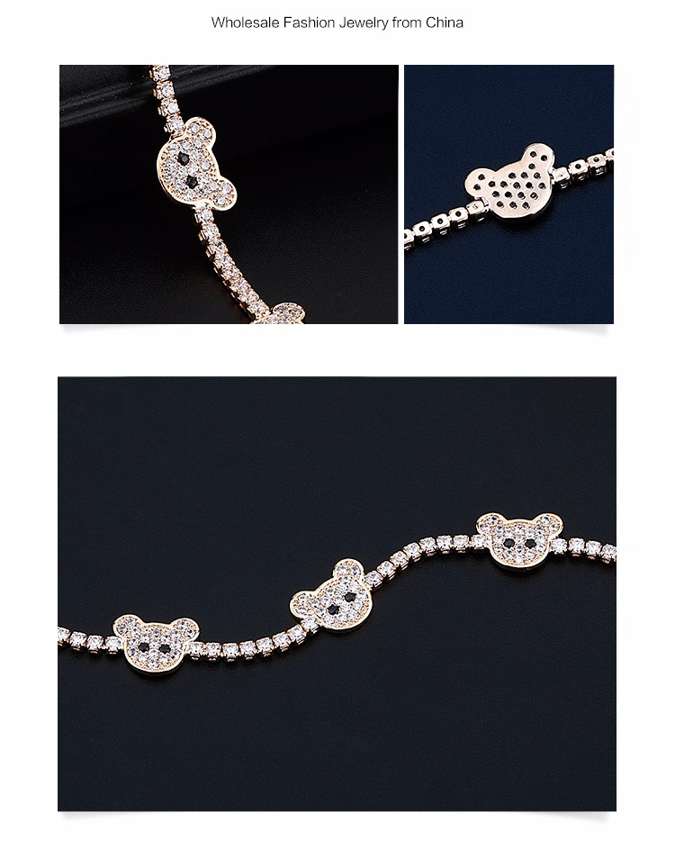 Fashion Latest Gold Design For Girls Micro Pave Cubic Zirconia CZ Lovely Cartoon Yellow Gold Diamond Tennis Bracelet