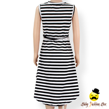 Kids Frock Designs Pictures Sleeveless Lace Trim With Belt Black And White Striped Casual Baby Girl Dress