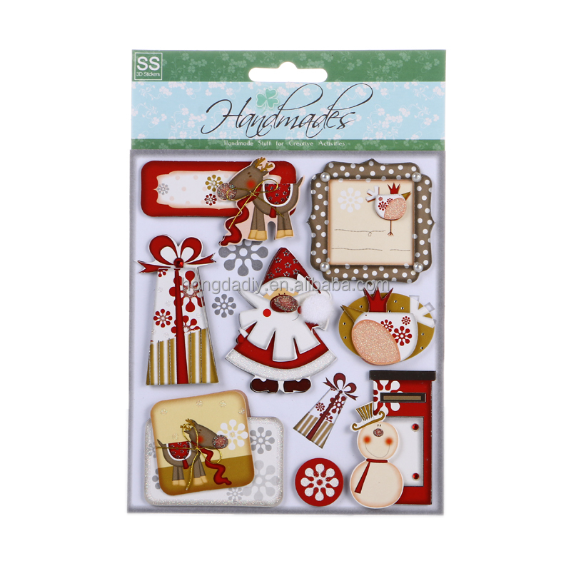 kid christmas 3D sticker for card making