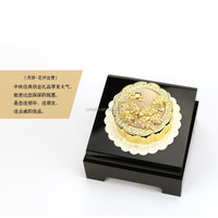 Pure Gold Mooncake statue with rich and honored, being in full flower Chinese blessing hua kai fu gui
