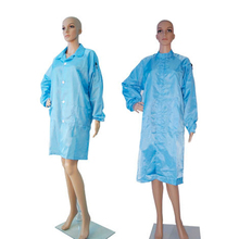 98% polyester and 2% conductive fiber Cleanroom antistatic ESD smock