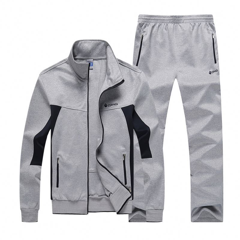Custom Latest Design Gym Training Slim Fitted Plain Mens Tracksuit Sports Set