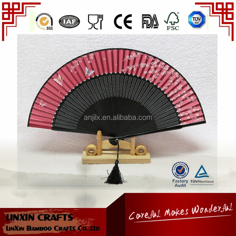 High grade bamboo products silk hand fan wholesales for Souvenir gift