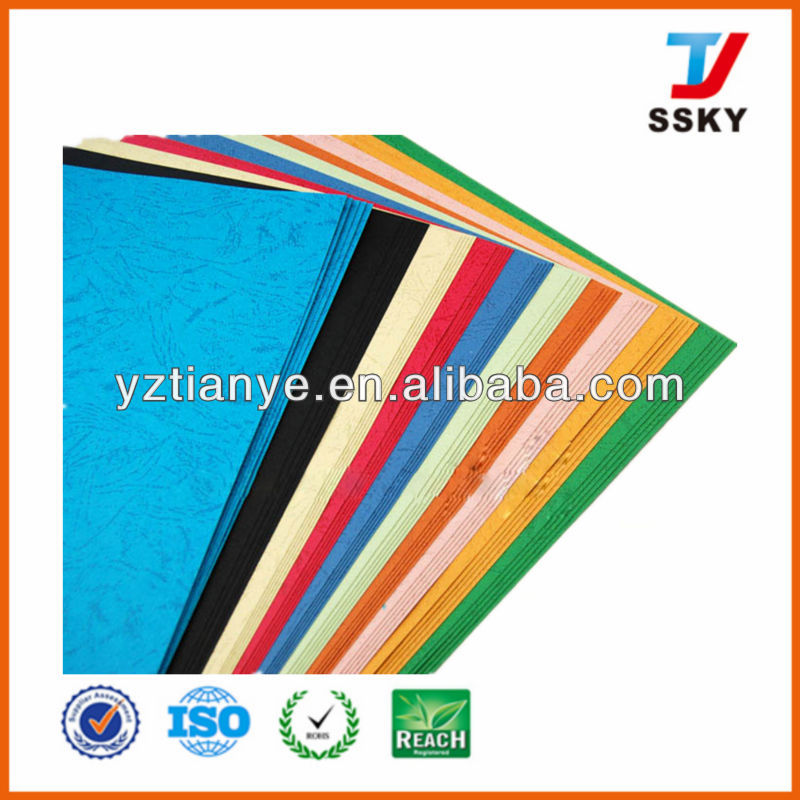 Hot sale colored embossed paper leather book binding cover