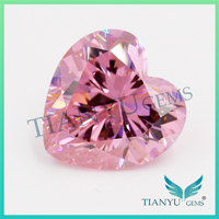 Wholesale Synthetic Heat CZ Stone 8*8 Pink Heart Cut Loose Cubic Zirconia Price