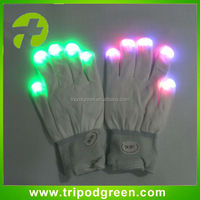 White color, color changing led gloves,3 difference color flashing led gloves