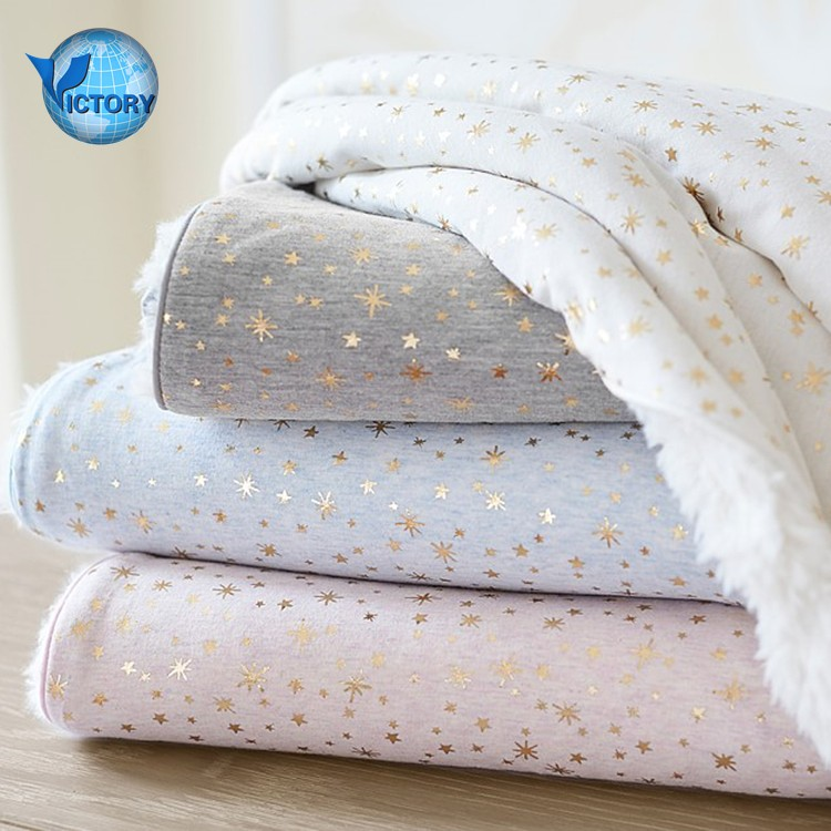 Baby Cloths Sherpa Fabric and Single Jersey Foil Star Style Bonded Knit Fleece Fabric