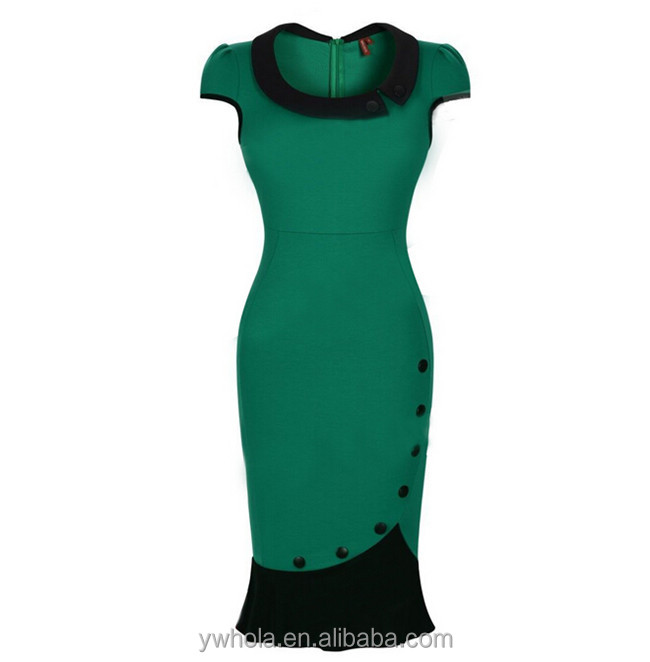 European Fashion Brand Elegant Ladies Teal Short Sleeve Cocktail Fashion Lady Dress