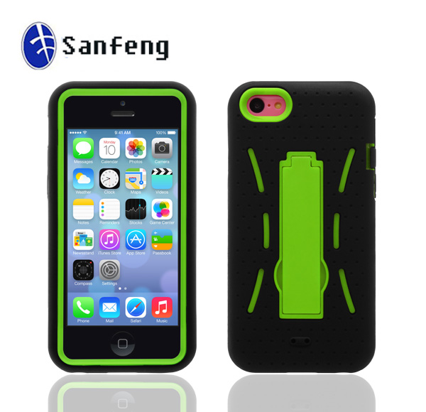 Newest Green Hybird Robot Kickstand Case For Apple iphone 5c With Hard Pc&Soft Silicone