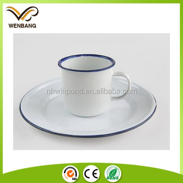Plain white rolled blue rim round custom enamel coffee tea cups and saucers