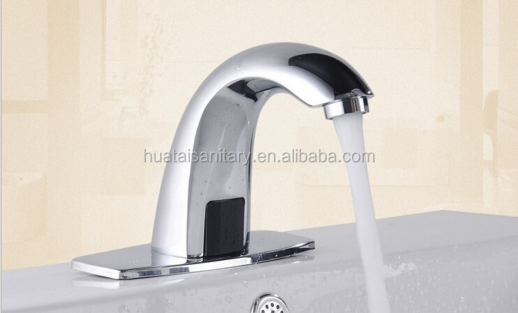 Deck Mount Solid Brass Auto Sensor Bathroom aqua touch Faucet with Automatic Sensor Chrome