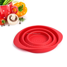New Collapsible Colander Silicone Draining Basket Kitchen Folding Strainer Bowl For Fruit & Vegetable