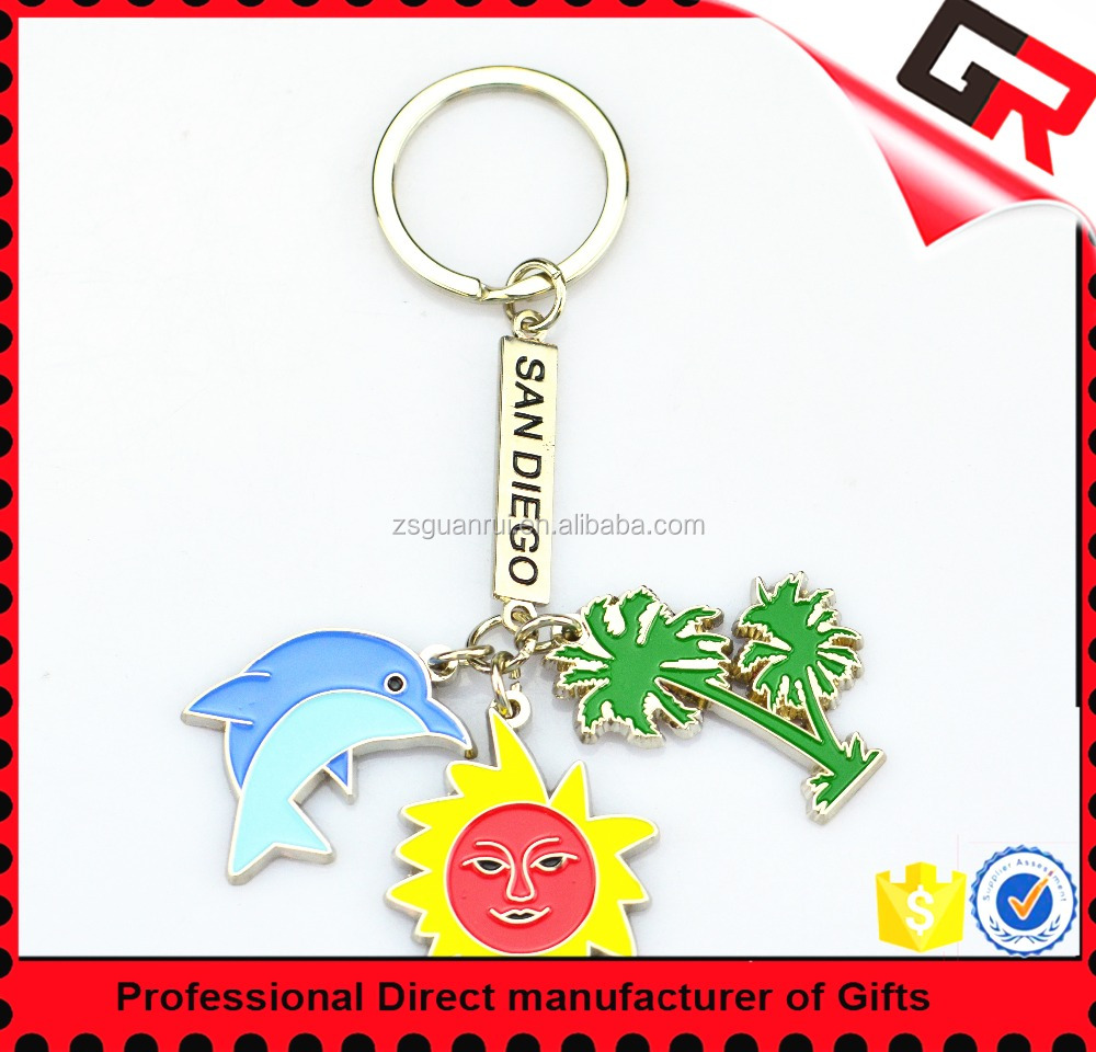 Wholesale Cheap Good Quality Tourist Souvenir Custom Blank Metal 3D Keychain For Gifts