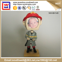 Alibaba China Gold Supplier Brave Fireman Photo Frame Custom Made Bobble Head