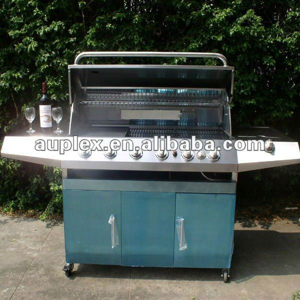 Round stainless steel 6 burner balcony gas grill with bbq grill motor/electric rotisserie motor