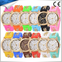 China 2015 Hot New Geneva Women's Lady Girl Rhinestone Crystal Silicone Rubber Strap Band Analog Quartz Wrist Watch Smart GW023