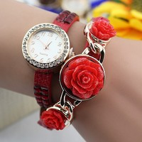 best sell rose flower china japan movt quartz lady watch stainless steel back for lady